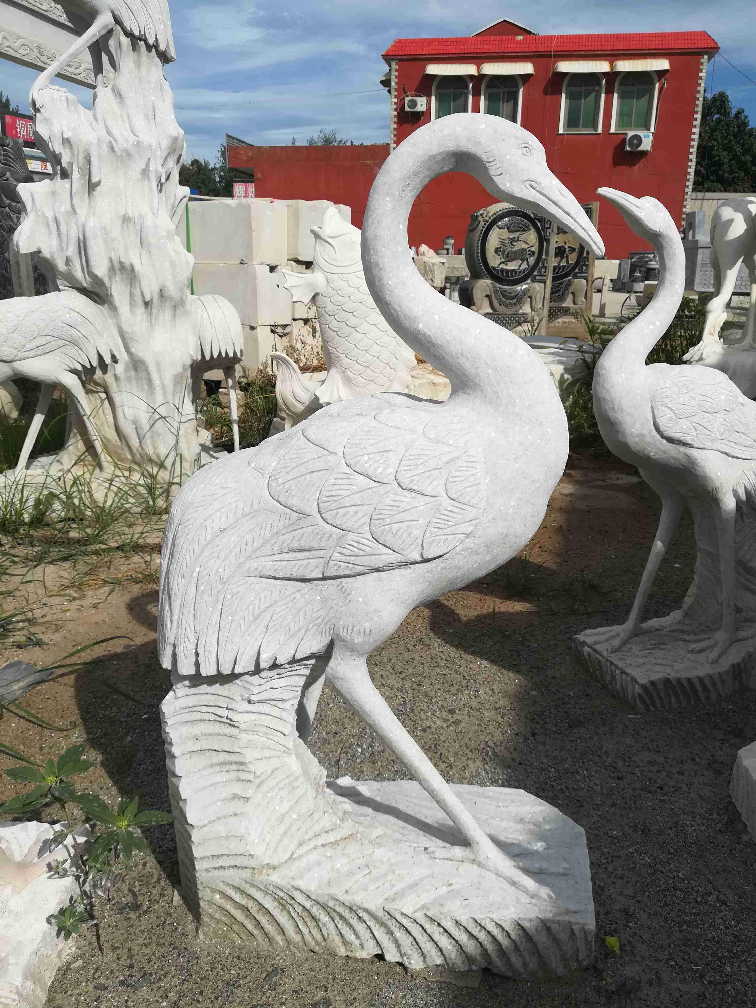 仙鹤松树铜雕塑